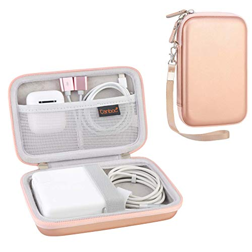 Canboc Carrying Case for MacBook Air Pro Charger MagSafe/MagSafe 2 Power Adapter, iPhone 12/12 Pro MagSafe Charger, USB C Hub, Type C Hub, USB Multiport Adapter, Hard EVA Shockproof Bag, Rose Gold