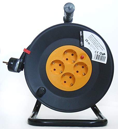 Cable alargador con enrollador 3x1,5mm (4 tomas, 25 m) Negro