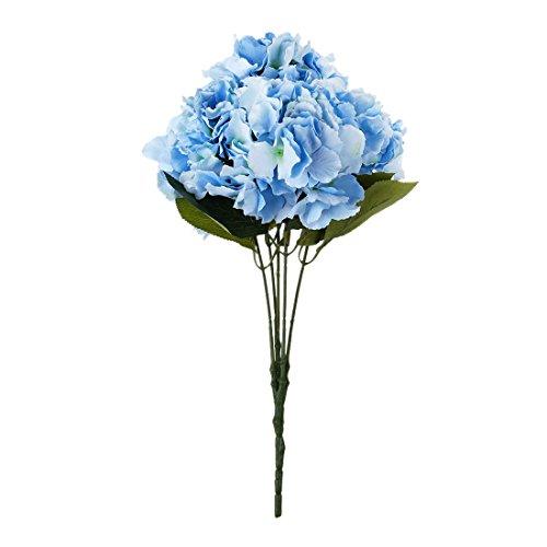 Cikuso Fiore di Ortensia Artificiale 5 Bouquet di Grandi Teste (Diametro 7pollice ciascuna Testa) Blu
