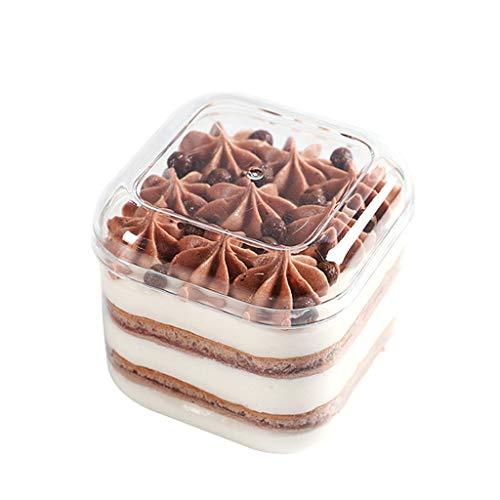 LCTDGH Cake Seal Tight Tray Box Contenedor de la Tienda, Transparente y Blanco, pequeña Caja de Almacenamiento multifunción de Cocina, Caja de Galletas (Color : 6 Packs, Tamaño : 74 * 74 * 78mm)