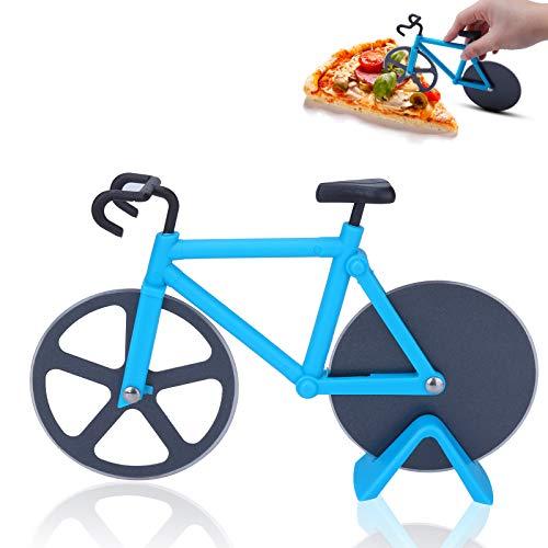 Fahrrad Pizzaschneider, Pizza Cutter aus Antihaftbeschichtetem Edelstahl, Edelstahl Doppel Pizzaschneider Ständer für Lustige Weihnachten Party Geschenke (Blau)