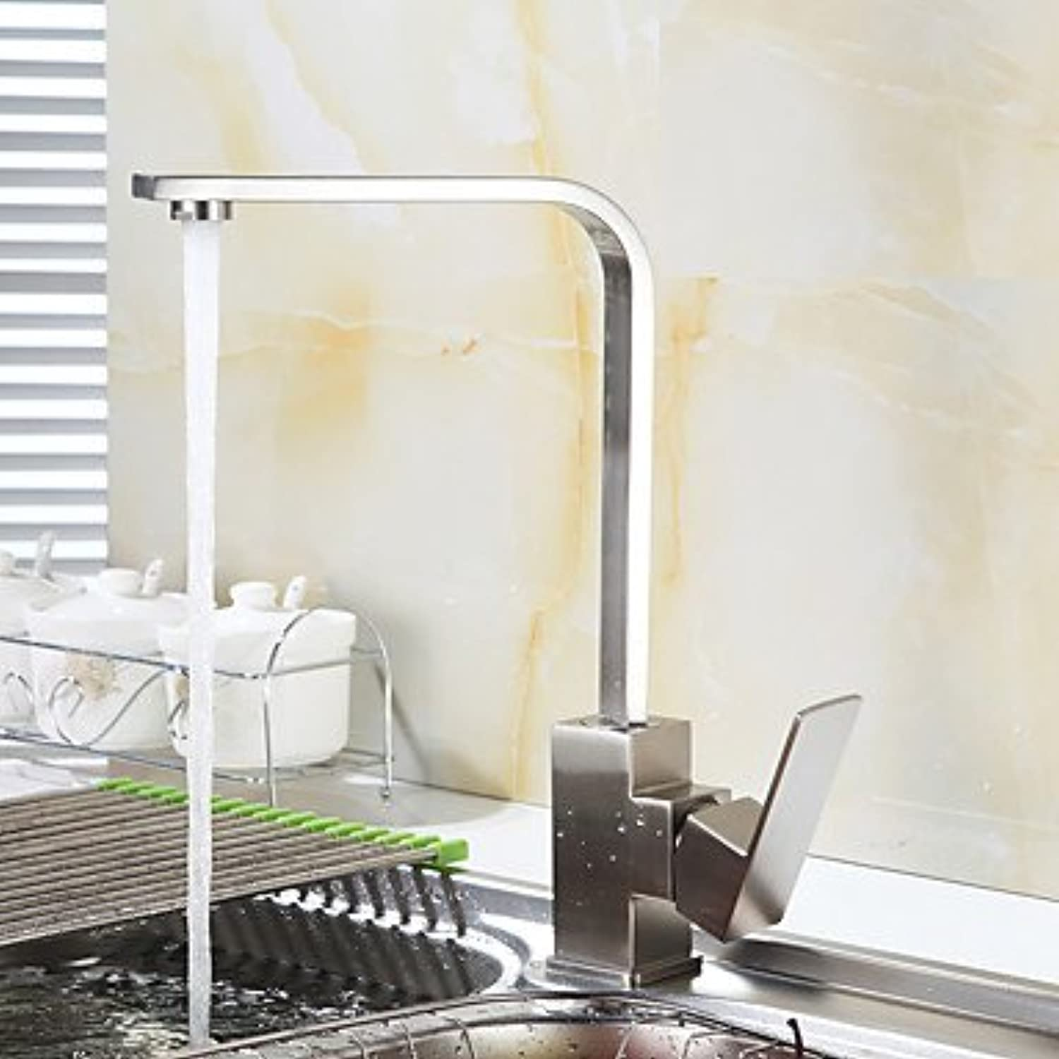 ZYT Contemporary Standard Spout Vessel Widespread with Ceramic Valve Single Handle One Hole for Nickel Brushed , Kitchen faucet