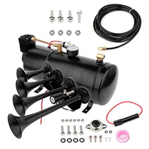 cciyu 12V 4 Trumpet Air Horn Kit with 150 PSI Air Compressor 1 Gal Air Tank Replacement for Train Car Truck Boat RV