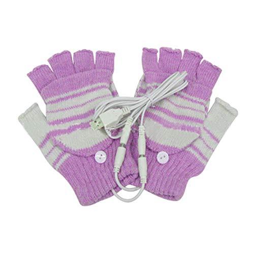 MeterMall CE Paar Vrouwen Mannen Paar Winter Warm USB Verwarming Breien Handschoenen Paars