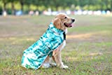 Comfortland Adjustable Christmas Dog Raincoat Pet Waterproof Clothes Lightweight Dog Jacket Poncho Winter Dog Vest Dog Rain Gear with Reflective Strips for Small Medium Large Dogs,Teal Camo