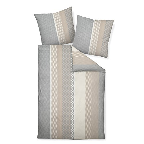 Janine Design Seersucker Bettwäsche Tango 20043-07 Sand Silber 1 Bettbezug 135x200 cm + 1 Kissenbezug 80x80 cm