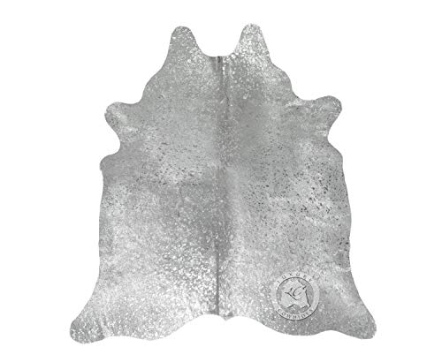 Sunshine Cowhides Alfombra DE Piel DE Vaca Devoré Metalico Plata 210 x 180 cm Pieles del Sol