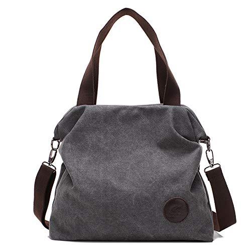 Canvas Damen Handtasche Schultertasche Frauen Casual Umhängetaschen Tote Hobo Bag Groß für Arbeit Schule Shopper Ausflug Grau