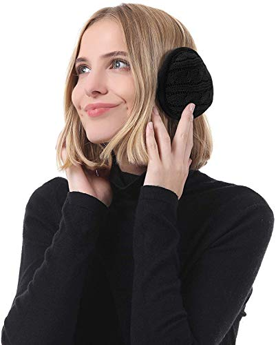Unisex Warm Knit Earmuffs Winter Foldable Ear Muffs for Women Soft Warm Cable Knit Furry Fleece Ear Covers for Cold Weather