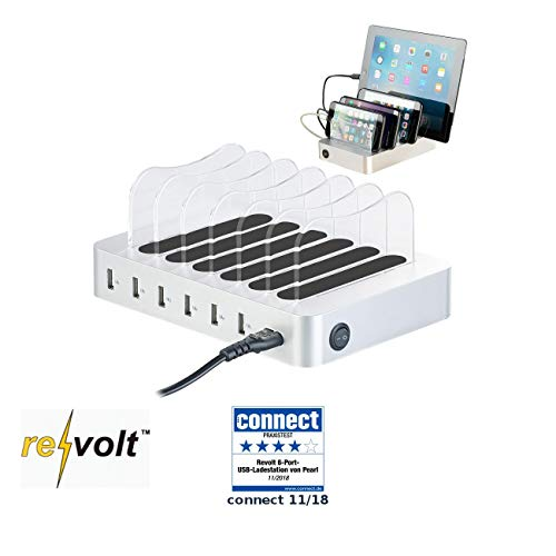 reVolt Multi Ladegerät: 6-Port-USB-Ladestation mit entnehmbaren Trennwänden, 10 A / 50 Watt (Tischladestation)