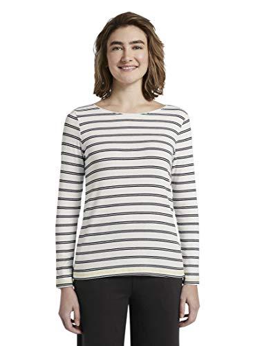 TOM TAILOR Damen T-Shirts/Tops gestreiftes Langarmshirt mit Stickerei White Navy Double Stripe,S