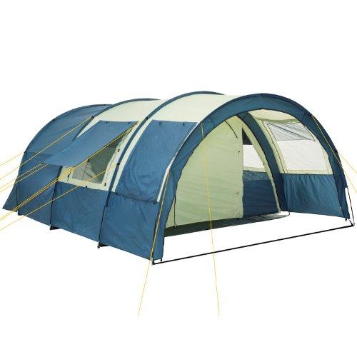 CampFeuer Tunnelzelt Multi Zelt für 4 Personen | riesiger Vorraum, 5000 mm Wassersäule | mit Bodenplane und versetzbarer Vorderwand | Campingzelt Familienzelt (blau/Sand)