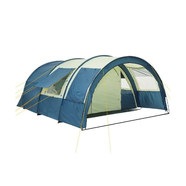 CampFeuer - Tunnel Tent with 2 Sleeping Compartments, Khaki / Blue, with Groundsheet and Movable Front Wall