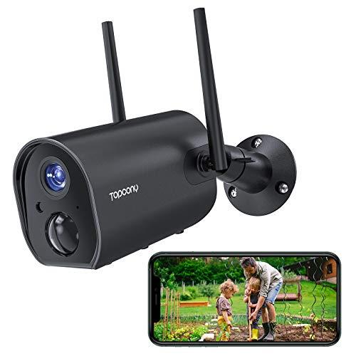 Telecamera Wifi Esterno Senza Fili con 10400mAh Batteria Ricaricabile, Topcony 1080P Videocamera di Sicurezza con PIR Rilevamento Umano, Visione Notturna 20m, Audio a 2 Vie, IP66 Impermeabile