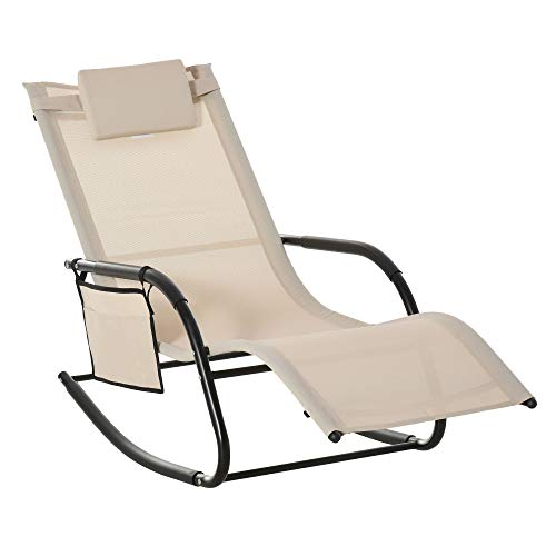 Outsunny Breathable Mesh Rocking Chair Patio Rocker Lounge for Indoor & Outdoor Recliner Seat w/Removable Headrest for Garden and Patio Cream White