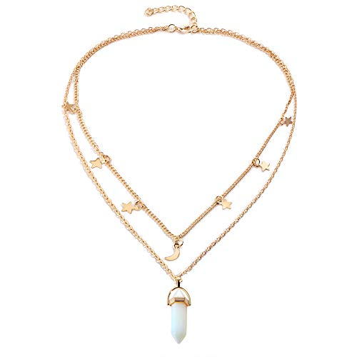 STRASS & PAILLETTES Collar de Varias hileras/Collar de Luna y Estrellas/Collar de Piedra de péndulo de Cristal de Roca / 2 Collares en uno