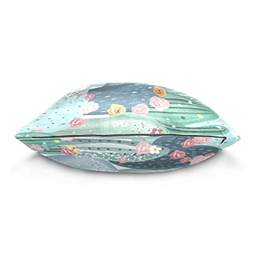 XiangHeFu Cactus Flower Pillow Case Cushion Cotton Velvet Throw Pillow Cover 20x20 Inch