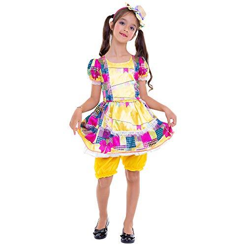 Regina, Fantasia Vestido Amarelo Festa Junina, M (6 a 8 anos)