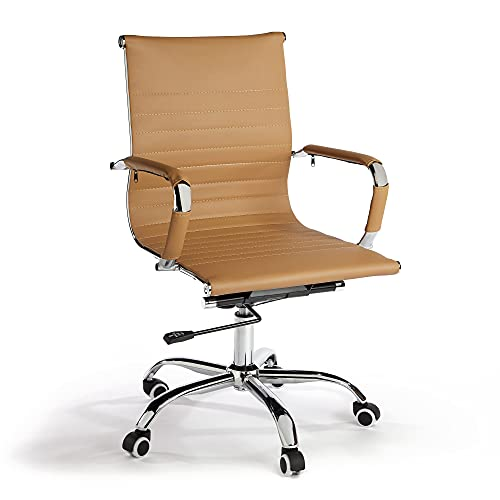 VonHaus Tan Desk Chair – Home Office Chair with Adjustable Height, Armrests & Wheels, Light Brown Faux Leather Computer Chair, Swivel Chair with Back Support