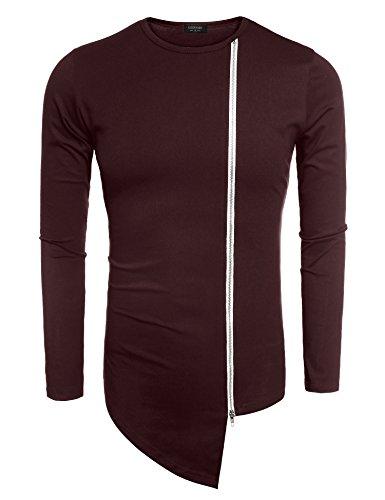 Coofandy Men's Shirts Casual Zipper Shirt Irregular Long Sleeve T Shirt, Wine Red, Large
