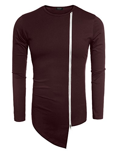 Coofandy Men's Shirts Casual Zipper Shirt Irregular Long Sleeve T Shirt, Wine Red, Large
