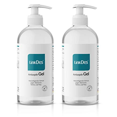 LinkDes® Antiseptik Gel, Das Original, Handhygiene Gel, Desinfektionsgel für Hände, begrenzt viruzid EN 14476 (2x 500 ml)