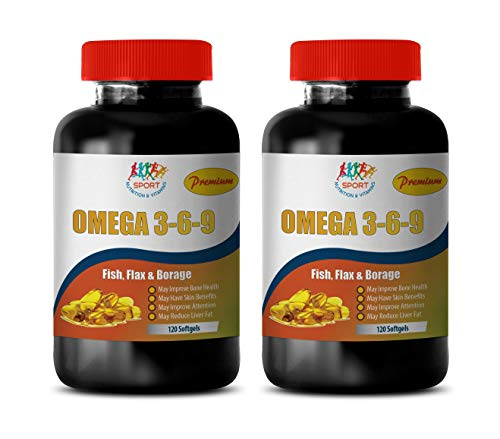 Brain Health and Mood Supplement - Omega 3 6 9 Premium (Fish Flax Borage) - Omega 3 Oil Supplements - 2 Bottles 240 Softgels