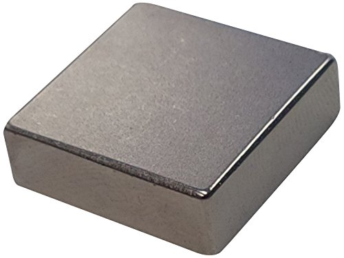 """Eclipse Magnetics N153 Neodymium Rare Earth Block Magnet, Nickel Plated, 1"""" Length x 1"""" Width x 1/2"""" Thickness"""