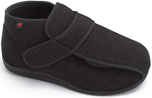 YURUMA Hombres Mujer X-Ancho Ajustable Zapatos Turgente Pies Pantufla, Anciano Velcr Cómodo Botas, Diabético Obesidad Zapatillas 36-51 (B/Negro (Otoño/Invierno), 37/US 7.5 Mujer/UK 4)