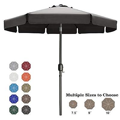 ABCCANOPY 9FT Outdoor Garden Table Umbrella Patio Umbrella Market Umbrella with Push Button Tilt for Pool Deck,Backyard and Garden. 13+Colors,8 Ribs Wave Edge,(Dark Gray)