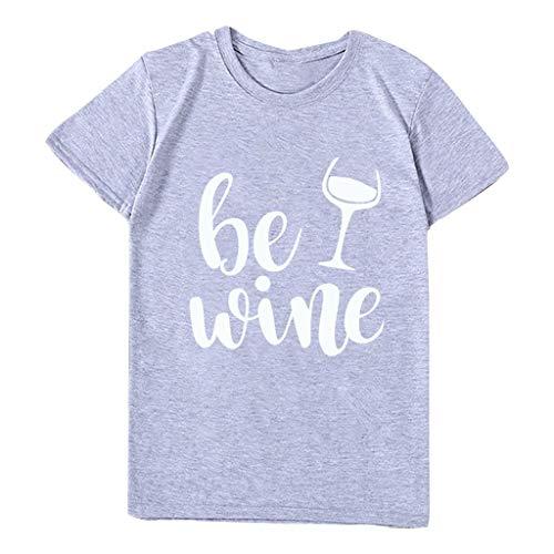 Mifelio Plus Size Shirt for Women Fashion Home Work Casual O-Neck Tee Top Letter Print Short Sleeve T-Shirt Top Blouse(Gray,XL)