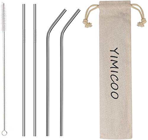 """YIMICOO 4PCS Reusable Metal Straws,8.5"""" Stainless Steel Straws with Case -Cleaning Brush for 20/30 Oz for Tumblers (Silver)"""