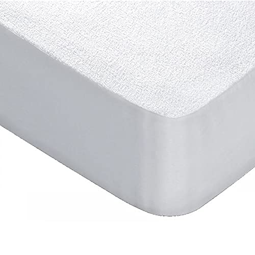 Protector de Colchón Rizo Impermeable Transpirable 100% Algodón Blanco, Barrera Antiácaros Highiénico Absorbente, Cubre Colchón Ajustable, Fácil colocación (135 x 190/200 cm)