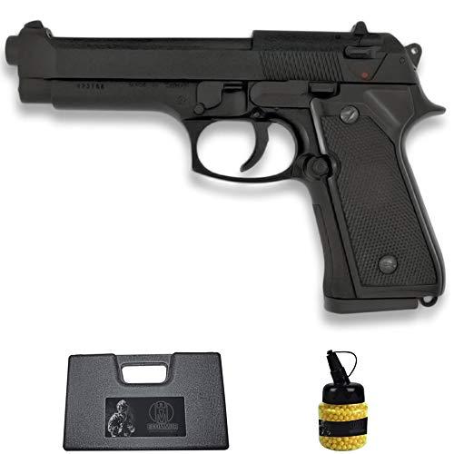 Pistola HFC-118 M92 Negra (6MM) | Arma Corta (Bolas de plástico) Tipo Beretta 92 + maletín PVC + biberón