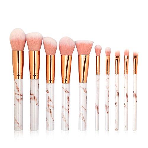 iEay Maquillage Beauté outils set, 10 pièces pinceau pour Visage Contour,yeux Ombre Paupières Eyeliner à Paupières Sourcils Shader Concealer Cosmetics Brush Lip Liner (blanc + rose)