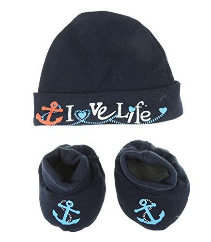 Baby Meisjes Jongens Schattig 100% Katoen Marine Oceaan Marine Set van Hoed Booties Pasgeboren Liefde Leven Newborn marineblauw