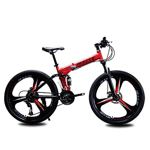 Gymqian Bicicleta de Montaña Plegable 21 Velocidad 3 Rueda de Radio Bicicletas Plegables Doble Disco Frenos de Doble Suspensión Bicicleta Plegable para Mujeres Hombres Adolescentes,