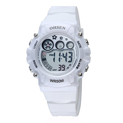 OHSEN Kinder Digital LED Anzeige Wasserdicht Chronograph Armbanduhr/Stoppuhr mit Kautschukband OHSEN06 - Weiß