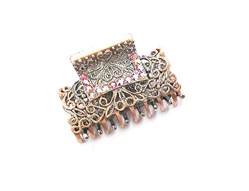 Rougecaramel - Accessoires cheveux - Pince crabe cheveux métal vieilli et strass - rouge