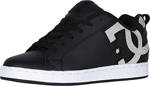DC Women's Court Graffik SE Skate Shoe, Black/Silver/Black, 5.5 B M US