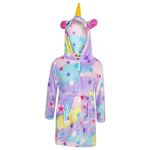 A2Z 4 - Albornoz para niños y niñas, con capucha y forro polar, diseño de unicornio Estampado de estrellas. 7-8 Años