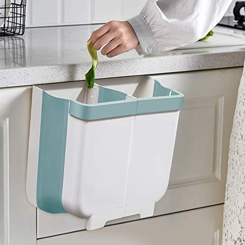 Gintan Hanging Kitchen Trash Can, 13L Foldable Waste Bins, Collapsible Mini...