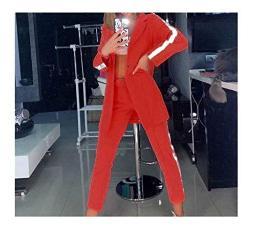 JUSTTIME Fashion Long-Sleeved Pak Potlood Broek Vrouwen Reflecterende Borduurpak Pak Vrouwen S Rood