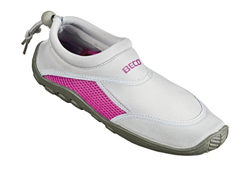 BECO Badeschuhe / Surfschuhe für Damen und Herren grau/pink 40