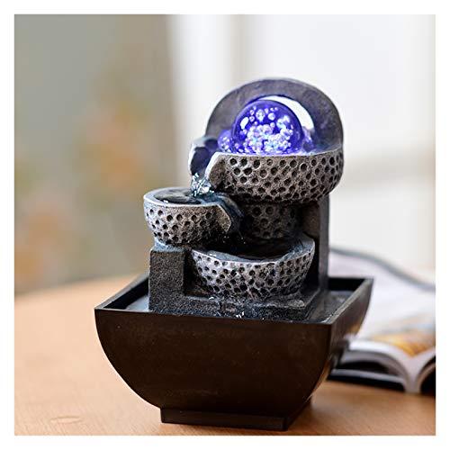 xutu Fuentes de interior Macetas con bola de luz Fuente de agua con luz LED Perfecto para interiores Característica Idea H7.8 En Feng Shui Escritorio Geométrico Circulación