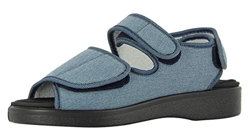 VAROMED Lugano 58893 Unisex - Erwachsene, Damen,Herren Klett-Sandalen,Gesundheits-Schuh,Klettverschluss,bequem,druckfrei,variabel,Jeans,42 EU