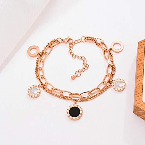 siqiwl Pulsera Joyería Oro Rosa Acero Inoxidable Números Romanos Brazaletes Encanto Femenino Para Mujeres Rose-Gold-Color