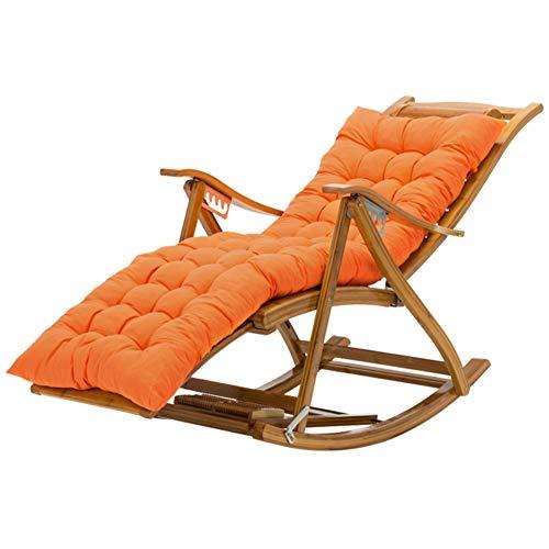Patio Chaise Lounger Cushion,Outdoor Chair Cushion Not-Slip Thicken Garden Rocking Chair Cushion Soft Cushion Large Sun Lounger Cushion Replacement Orange 125x48cm(49x19inch)