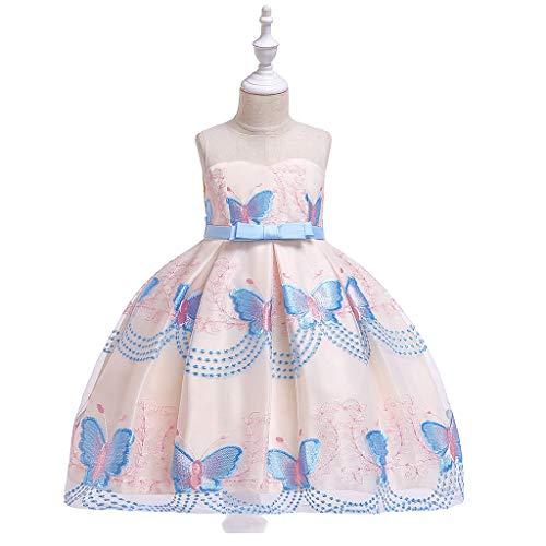 AIOJY Vestido para Niños Vestido De Actuación De Piano con Tubo Superior para Niños Vestido De Novia Niñas Mariposa Bordado Red Hilo Princesa Falda De Escenario, Azul,150cm