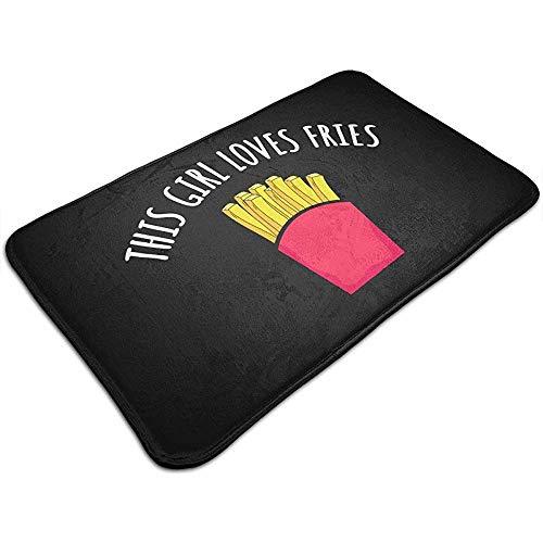 Liumt Dit meisje houdt van Pommes Frites deurmat decoratief antislip badmat tapijt 40cm * 60cm